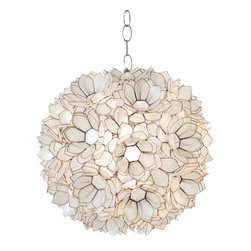"Worlds Away - Worlds Away Capiz Shell Pendant: Jupiter and Venus, Two Sizes, Three Colors, Cle - This lovely pendant chandelier features a large capiz lotus pendant design. The chandelier features a single bulb that takes a 60 watt max bulb. It is available in four colors: clear, pink or turquoise.  It is also available in two sizes.  The smaller size (Venus Capiz Shell Chandelier) measures 15"" in diameter and comes with 3 feet of chrome chain and ceiling canopy. The larger size (Jupiter Capiz Shell Chandelier) measures 20"" in diameter and comes with 3 feet of chrome chain and ceiling canopy.  Click on images for greater detail and please make your color and size selections below.  The larger is currently available in pink and clear only.  The small is available in all colors."