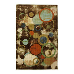 Mohawk Home - Kaleidoscope Texture Multi Contemporary Geometric Circle 8' x 10' Mohawk Rug - This rug creates a vivid and striking abstract background that contrasts well with the modern foreground. The unique imperfections in the circles pair well with the painterly details within the design, creating a multi-layered depth to the overall rug.Action Backing
