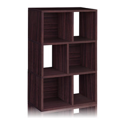 Way Basics - Way Basics 3 Shelf Laguna Bookcase, Espresso - This modern, minimalist bookcase fits anywhere for storage and display. It's light enough to move with your moods, blends with any decor and is strong enough to hang tough when the holding gets heavy. Open-back design for extra convenience, super simple peel-and-stick assembly and formaldehyde- and VOC-free.