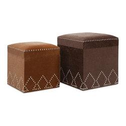 "Imax - Faux Fur McDonald Nailhead Square Ottomans - Set of 2 - *Dimensions: 15-17.75""h x 13.25-15.75""w x 13.25-15.75"""