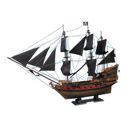 """Handcrafted Nautical Decor - Captain Kidd's Black Falcon Limited 24"""" - Black Sails - Sold Fully Assembled"""