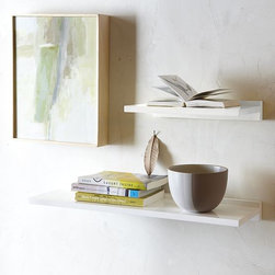 Lacquer Shelves - These white lacquered shelves would be perfect above a toilet. I want to use them in my master bath.