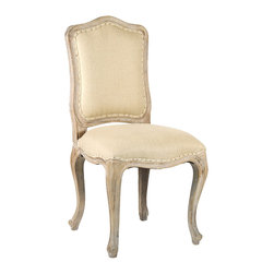 Cannes Arm Chair - Limed Grey Oak with Hemp Linen - The Cannes Arms Chair's frame is all aristocracy, with a mild serpentine back, a shaped apron, and cabriole legs crafted in the lovely weathered solidity of limed grey oak, but its upholstery adds a delightful bourgeoisie touch with a border of welting self-trim and a practical placement of tiny nail heads.  Natural hemp cloth was chosen for this beautiful neutral-colored dining chair.