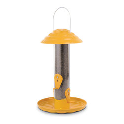PineBush - 12 inch Tube Finch Feeder with Tray and Cap (Yellow) - PineBush Tube Feeders are manufactured with precision molds for die cast construction. Perches and seed ports are precisely die formed for a consistent fit. Metal seed ports are securely bolted to the seed tube. Poly tubes are formed using a break