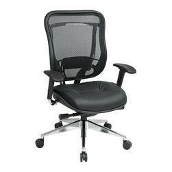 Office Star - Matrex Back and Leather Seat w Adjustable Arm - Breathable mesh back with adjustable lumbar support. Deluxe 2-to-1 synchro tilt control with 3-position lock, anti-kickback, seat slider and tilt tension control. Height adjustable arms. Heavy duty angled polished Aluminum base with oversized dual wheel carpet casters. Leather seat. 28.5 in. D x 28 in. W x 44 in. H