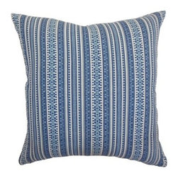 The Pillow Collection Gawanna Stripes Pillow - Blue - The Pillow Collection Gawanna Stripes Pillow - Blue makes a decorative bedroom pillow gift or easily complements white wicker patio furniture. Though its rigid lines appear to give it a rough texture, this throw pillow is made of 100% soft cotton.About The Pillow CollectionIdentical twin brothers Adam and Kyle started The Pillow Collection with a simple objective. They wanted to create an extensive selection of beautiful and affordable throw pillows. Their father is a renowned interior designer and they developed a deep appreciation of style from him. They hand select all fabrics to find the perfect cottons, linens, damasks, and silks in a variety of colors, patterns, and designs. Standard features include hidden full-length zippers and luxurious high polyester fiber or down blended inserts. At The Pillow Collection, they know that a throw pillow makes a room.