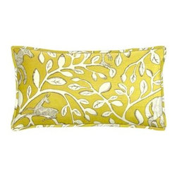 "Cushion Source - Pantheon Dandelion Lumbar Pillow - The 20"" x 12"" Pantheon Dandelion Lumbar Pillow features a floral and safari animal print in natural and gray on a mustard yellow background."