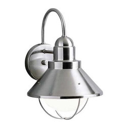 Kichler Lighting - Kichler Outdoor Wall Light in Brushed Nickel Finish - 9023NI - This outdoor wall light features a sleek nautical design and a brushed nickel finish over aluminum, making for an attractive and durable outdoor fixture. A conical metal shade is suspended from the circular backplate and surrounds a single bulb. Takes (1) 150-watt incandescent G40 bulb(s). Bulb(s) sold separately. CSA listed. Wet location rated.