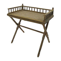 Pre-owned Vintage Bamboo Writing Desk - This vintage bamboo writing desk doubles as a detachable tray table! It features a caned wood top and a fold-up stand. Store it just about anywhere!