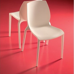 Bontempi Casa - Hidra Chair (Set of 2) - The Hidra chair is constructed in a makes this single-piece, utilizing an advanced injection-molded technique that enhances the natural strength of the polypropylene. It's tough enough to withstand rough use in a fast-food restaurant, while elegant enough to flatter a sophisticated design studio or stylish home. More than just beautiful, it is exceptionally comfortable, and inexpensive. It is also easy to clean and stacks up to 8 high. Suitable for indoor or outdoor use. Contract quality. Designed by: Erresse Studio Features: -Made of polypropylene.-UV protected.-Distressed: No.-Country of Manufacture: Italy.Dimensions: -32'' H x 19.5'' W x 22'' D.-Seat Height: 18.5''.