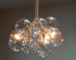 Bubble Chandelier Original Size by Jean Pelle - I love this effervescent cluster of glass globes paired with a rope wire cover. It is so versatile; it can go super-glam or way-out eclectic, fresh contemporary or spare minimal.