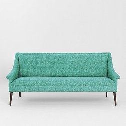 Charlotte Sofa, Turquoise - Jewel-toned sofas are the best in dark, moody rooms.