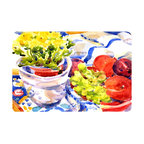 Caroline's Treasures - Apples, Plums And Grapes With Flowers  Kitchen Or Bath Mat 20X30 - Kitchen or Bath COMFORT FLOOR MAT This mat is 20 inch by 30 inch.  Comfort Mat / Carpet / Rug that is Made and Printed in the USA. A foam cushion is attached to the bottom of the mat for comfort when standing. The mat has been permenantly dyed for moderate traffic. Durable and fade resistant. The back of the mat is rubber backed to keep the mat from slipping on a smooth floor. Use pressure and water from garden hose or power washer to clean the mat.  Vacuuming only with the hard wood floor setting, as to not pull up the knap of the felt.   Avoid soap or cleaner that produces suds when cleaning.  It will be difficult to get the suds out of the mat.