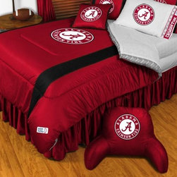 Sports Coverage - Alabama Crimson Tide NCAA Bedding - Sidelines Comforter and Sheet Set Combo - Qu - This is a great Alabama Crimson Tide NCAA Bedding Comforter and Sheet set combination! Buy this Microfiber Sheet set with the Comforter and save off our already discounted prices. Show your team spirit with this great looking officially licensed Comforter which comes in new design with sidelines. This comforter is made from 100% Polyester Jersey Mesh - just like what the players wear. The fill is 100% Polyester batting for warmth and comfort. Authentic team colors and logo screen printed in the center.   Microfiber Sheet Hem sheet sets have an ultrafine peach weave that is softer and more comfortable than cotton.  Its brushed silk-like embrace provides good insulation and warmth, yet is breathable.  The 100% polyester microfiber is wrinkle-resistant, washes beautifully, and dries quickly with never any shrinkage. The pillowcase has a white on white print beneath the officially licensed team name and logo printed in vibrant team colors, complimenting the NEW printed hems. The Teams are scoring high points with team-color logos printed on both sides of the entire width of the extra deep 4 1/2 hem of the flat sheet.  Includes:  -  Flat Sheet - Twin 66 x 96, Full 81 x 96, Queen 90 x 102.,    - Fitted Sheet - Twin 39 x 75, Full 54 x 75, Queen 60 X 80,    -  Pillow case Standard - 21 x 30,    - Comforter - Twin 66 x 86, Full/Queen 86 x 86,