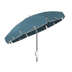 Fifthroom - 7.5' Octagon Vinyl Umbrella w/Aluminum Pole, Crank Lift, and Manual Tilt - You and your guests will be �made in the shade� with this 7.5� Octagon Vinyl Umbrella. Available in 13 versatile colors that are sure to blend with any d�cor, this umbrella will provide hours of shade, even on the sunniest of days. Because it is constructed from vinyl, it is rated at 100 percent for sun protection.  Vinyl also is sturdy and easy to clean, guaranteeing this umbrella will last for many years.
