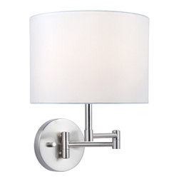 Lite Source - Swing Arm Wall Lamp - White Fabric Shade - Swing Arm Wall Lamp - White Fabric Shade