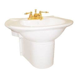 "Renovators Supply - Pedestal Sinks Bone China Half Pedestal Wall Mount Sink 4"" - Wall-mount basin flanked by small ledges upheld by a rounded half pedestal that gracefully hides all piping. Pedestals bring new elegance to any bathroom. Accepts 4 in. centerset faucet. This sink has an overflow. This industrial look makes cleaning the btahroom floor a breeze."