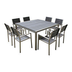 MangoHome - OUTDOOR PATIO WICKER FURNITURE NEW ALUMINUM 9PC SQUARE DINING TABLE & CHAIRS SET - OUTDOOR PATIO WICKER FURNITURE NEW ALUMINUM 9-PIECE SQUARE DINING TABLE & CHAIRS SET