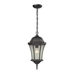 Elk Lighting - Wellington Park 1-Light Outdoor Pendant in Weathered Charcoal - The Wellington Park Collection has a hexagonal shaped design with arching seedy glass panels held by a scrolled cast aluminum frame. A weathered charcoal finish enhances its stately character.