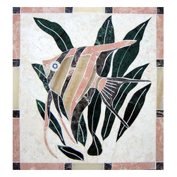 Handcrafted Backsplash Marble Mural Inlay Angel Fish - Made to order. Lead time 2-3 weeks. Proudly made in USA.