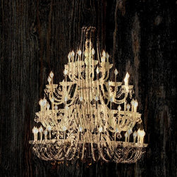 Suzanne Powers - Chandelier On Rustic Wood, Cream on Black - Add instant luxury to any space with this rustic chandelier silhouette.  Goes with any style from industrial to traditional adding a contemporary twist.