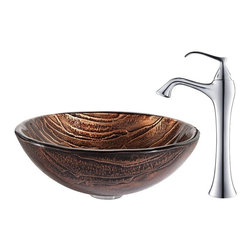 Kraus - Kraus Gaia Glass Vessel Sink and Ventus Faucet Chrome - *The copper-brown hue of the Gaia sink gives it an earthy appeal, while the layered texture highlights the handcrafted artistry of the glass. Pair it with the soft curves of the classically inspired Ventus faucet in chrome for a contemporary twist