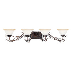 Maxim Lighting - Maxim Lighting Elegante Traditional Bathroom / Vanity Light X-IOIF6682 - Traditional style and rustic influencing add to the appeal of this Maxim Lighting bathroom light. From the Elegante Collection, this beautiful vanity light features a rich Oil Rubbed Bronze finish that highlights all the nature-inspired and rustic details. Four frosted ivory shades in a traditional bell shape complete the look.