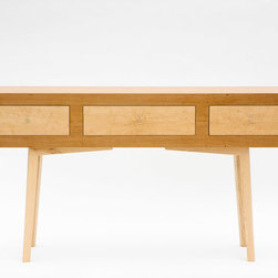 """Three drawer console - This table is veneered in cherry, with maple legs and bird's-eye maple drawer faces.  It measures 60"""" wide, 34"""" tall and 13.5"""" deep.  The drawers are mounted using full extension, ball-bearing slides to make full use of the depth.  The legs are designed to be removable for easy shipping; this piece can be sent UPS."""