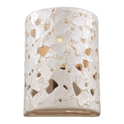 Murray Feiss - Murray Feiss WB1738WTPC/BD Azalia 1 Bulb White Taupe Ceramic / Beach Wood Wall S - Murray Feiss WB1738WTPC/BD Azalia 1 Bulb White Taupe Ceramic / Beach Wood Wall Sconce