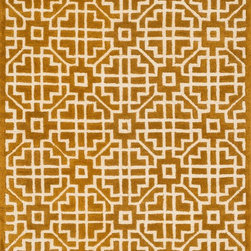 """Loloi Rugs - Loloi Rugs Brighton Collection - Gold, 7'-10"""" x 11'-0"""" - There are geometric rugs and then there is the striking Brighton Collection, which sets a new standard for geometric style. Hand-tufted in India, 100% wool yarns are hand-dipped into rich dye lots, producing lively colors that pair fabulously with its playful patterns. Brighton also combines a cut and loop pile, creating a mix of heights and textures for added visual interest. Available in 12 playful designs."""