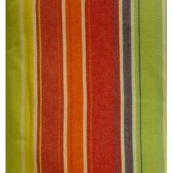Festival Red And Green Striped Rectangular Tablecloth - Bright, bold stripes add a festive touch to your dining room!