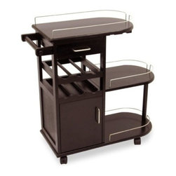 Winsome Wood - Entertainment Cart with Glass Rack - Now bring the fun right to your guests with our Entertainment Cart, Glass Rack as this is handy rolling entertainment cart. Hold and tote wine bottles, glasses and much more. It has 2 drawers and 3 shelves plus a rod for bar towels.