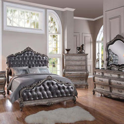 Traditional 5 piece Granite Top Cal. or Estern King bed Bedroom set - Acme Furniture Chantelle 5-piece Traditional Antique Platinum Granite Top Cal. / Estern King bed Bedroom set 20542CK