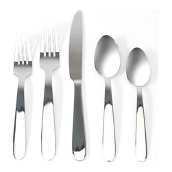 Anchor Hocking - Zone 20-piece Flatware Set - The smooth,unadorned teardrop handle and wide-set bowls of this 20-piece flatware set by Zone gives a modern appearance. This silverware would be the perfect tableware addition for any occasion.