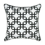 Rizzy Home - Rizzy Home Black and White Criss Cross Dot Decorative Throw Pillow - T05592 - Shop for Pillows from Hayneedle.com! Graphic black and white makes the Rizzy Home Black and White Criss Cross Dot Decorative Throw Pillow a modern way to decorate. This dramatic throw pillow has a cotton cover printed with a black interlocking criss cross pattern and adorned with black cord trim. It has a hidden zipper and removable polyester insert. Machine wash the cover in cold water and lay flat to dry.About Rizzy HomeRizwan Ansari and his brother Shamsu come from a family of rug artisans in India. Their design color and production skills have been passed from generation to generation. Known for meticulously crafted handmade wool rugs and quality textiles the Ansari family has built a flourishing home-fashion business from state-of-the-art facilities in India. In 2007 they established a rug-and-textiles distribution center in Calhoun Georgia. With more than 100 000 square feet of warehouse space the U.S. facility allows the company to further build on its reputation for excellence artistry and innovation. Their products include a wide selection of handmade and machine-made rugs as well as designer bed linens duvet sets quilts decorative pillows table linens and more. The family business prides itself on outstanding customer service a variety of price points and an array of designs and weaving techniques.