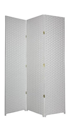 Oriental Unlimited - 7 ft. Tall Woven Wooden Fiber Room Divider (3 - Choose No. of Panels: 3 Panels / WhiteWith two-way hinges for versatility, this sophisticated white on white Shoji screen will be a stunning and elegant addition to any decor. Highlighted by a traditional window pane style design, the screen features three panels backed by a white rice paper shade. Double hinged for the maximum design flexibility. Screen has a 3 cm. weave and 1.5 in. legs. Each panel: approximately 19.5 in. W x 0.75 in. D x 84 in. HThis natural 7 ft. Tall Woven Fiber Room Divider brings an earthy, serene feeling to any room. It's made of a wooden fiber mesh material in a frameless design.