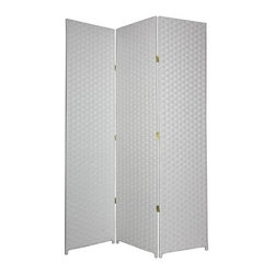 Oriental Unlimted - 7 ft. Tall Woven Wooden Fiber Room Divider (3 - Choose No. of Panels: 3 Panels / WhiteWith two-way hinges for versatility, this sophisticated white on white Shoji screen will be a stunning and elegant addition to any decor. Highlighted by a traditional window pane style design, the screen features three panels backed by a white rice paper shade. Double hinged for the maximum design flexibility. Screen has a 3 cm. weave and 1.5 in. legs. Each panel: approximately 19.5 in. W x 0.75 in. D x 84 in. HThis natural 7 ft. Tall Woven Fiber Room Divider brings an earthy, serene feeling to any room. It's made of a wooden fiber mesh material in a frameless design.