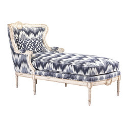 Kathy Kuo Home - Bayonne French Country Blue White Zig Zag Upholstered Chaise Lounge - Old World grace meets New World luxury in a blue white zig zag upholstered lounge chair. Hand-carved details highlight the elegant wood framework, available in a variety of finishes. Make this French Country masterpiece your own with custom fabric and pillow for a truly unique chaise. Made to order in the USA; please allow 6-12 weeks lead time to ship.