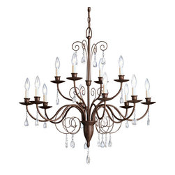 Kichler 12 Light Chandelier - Tannery Bronze - 12 Light Chandelier With olde world charm and elegance, the Barcelona collection looks to the past to create a new era of refinement for today's home. Our rich tannery bronze finish is used to accentuate the collection`s antique, hand wrought Spanish-inspired design. Each item features clear glass teardrop pendalogues throughout the frame, which add immediate style and authenticity to the piece. So if you are looking to add spice to your home`s decor with a Mediterranean flavored chandelier, the heritage Barcelona collection is a marvelous choice. This large, two-tiered 12 light Barcelona chandelier is largest in the collection and is perfect for large rooms and foyers. It uses 60-watt bulbs, is 34 in diameter, and has a body height of 29 .