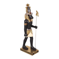 """EttansPalace - 37.5"""" Classic Ancient Egyptian Statue Khnum Ram Indoor Sculpture Figurine - This graceful sculpture makes a powerful addition to any decor. Khnum, the ram-headed god, is believed to have created mankind on his potters wheel. He represents creativity, design and wisdom. Our more than three-foot-tall sculpture is created in quality designer resin and hand-painted with accurate gold and ebony-toned details and colors from the Egyptian palette. This large-scale, display-quality indoor sculpture transforms any home bar, entertainment area or recreation room into something truly magnificent!"""