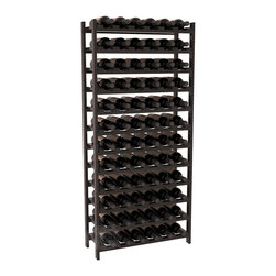 72 Bottle Stackable Wine Rack in Redwood with Black Stain + Satin Finish - Four kits of wine racks for sale prices less than three of our 18 bottle Stackables! This rack gives you the ability to store 6 full cases of wine in one spot. Strong wooden dowels allow you to add more units as you need them. These DIY wine racks are perfect for young collections and expert connoisseurs.