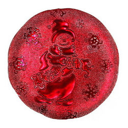 Artistica - Hand Made in Italy - IVV Glass: Snowman Plate Red - IVV Glass and Class