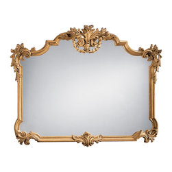 """Inviting Home - Tuscan Style Horizontal Mirror - 18-century Tuscan style horizontal wall mirror with floral and leaf scroll motif finished in antiqued gold leaf 50""""W x 38-3/4""""H x 3""""D hand-crafted in Italy This horizontal wall mirror is hand-crafted in 18th century Tuscan style. Wall mirror has a carved wood frame with floral and leaf scrolls in antiqued hand applied gold metal leaf finish. This Tuscan style mirror is hand-crafted in Italy."""