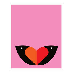 Hybrid-Home - Limited Edition Print - Love Birds - Meaning is in the eye of the beholder with this amiable design by Heather Amuny-Dey. Some will see butterfly wings, others a two-toned heart — and for those who truly look for love, entwined birds. Pink, but not overly precious, this limited edition silkscreen print will bring warmth to your spirit.
