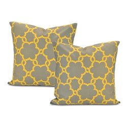 EFF - Marabella Grey/ Yellow Cotton Pillow Cover (Set of 2) - Decorate your home in contemporary style with these Marabella pillow covers. Crafted with soft cotton,these square grey pillowcases feature a trendy yellow floral lattice pattern,finished with a charming envelope-style button closure.