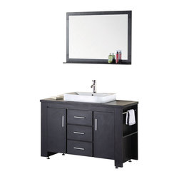 """Design Element - Washington 48"""" Single Sink Vanity Set in Espresso - The Washington 48"""" espresso vanity set is stylishly constructed of solid plywood panels with veneer laminate. The stylish white rectangular sink and sleek espresso cabinetry bring style and utility to any bathroom. This vanity includes soft-closing cabinet doors and three pullout drawers all adorned with satin nickel hardware. The sides of the vanity feature a removable towel bar and shelving for additional storage and utility. Amatching mirror with shelf is included."""