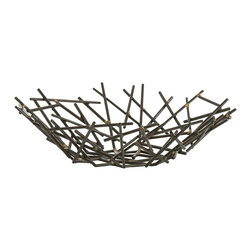 Arteriors - Grazia Centerpiece - Slender matchstick-sized pieces of natural iron are fused together with brass welds to create this organic yet industrial centerpiece. Since each is hand-assembled, size will vary. Stands alone as a sculpture or can be filled with simple decorative objects of your choosing.