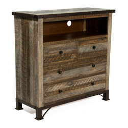 Haven TV Console - The Haven is an endearing casual styled bedroom collection that has been beautifully hand rubbed finished after adding detailed distressing to solid wood. Hand forged iron molding enhanced with large nail-head trim adds charm to your bedroom. The dresser feature solid pine wood on frames, drawer fronts, panels & sides. Drawers are built with solid wood on all sides and joined with english dovetail construction on fronts guaranteeing strength and durability. Ball bearing glides on all drawers ensure a smooth and durable glide. As an extra feature, all top drawers are lined with microfiber to protect your delicate clothes. Photo: Jerome's Furniture