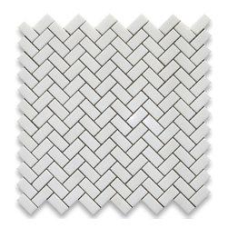 "Stone Center Corp - Thassos White Marble Herringbone Mosaic Tile 5/8 x 1 1/4 Polished - Thassos white marble 5/8"" x 1 1/4"" pieces mounted on 12"" x 12"" sturdy mesh tile sheet"