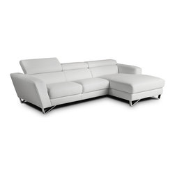 JNM Furniture - Sparta Mini Italian Leather Sectional Sofa, White - The best selling Sparta Italian Leather sectional is now available in a new smaller design! The Sparta mini is a fashionable, modern, and available in dark gray color. Seats